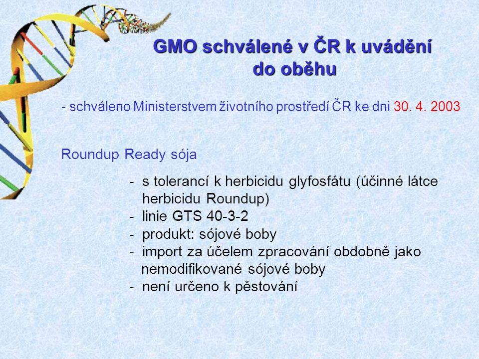 GMO schválené v ČR k uvádění do oběhu - schváleno Ministerstvem životního prostředí ČR ke dni 30.
