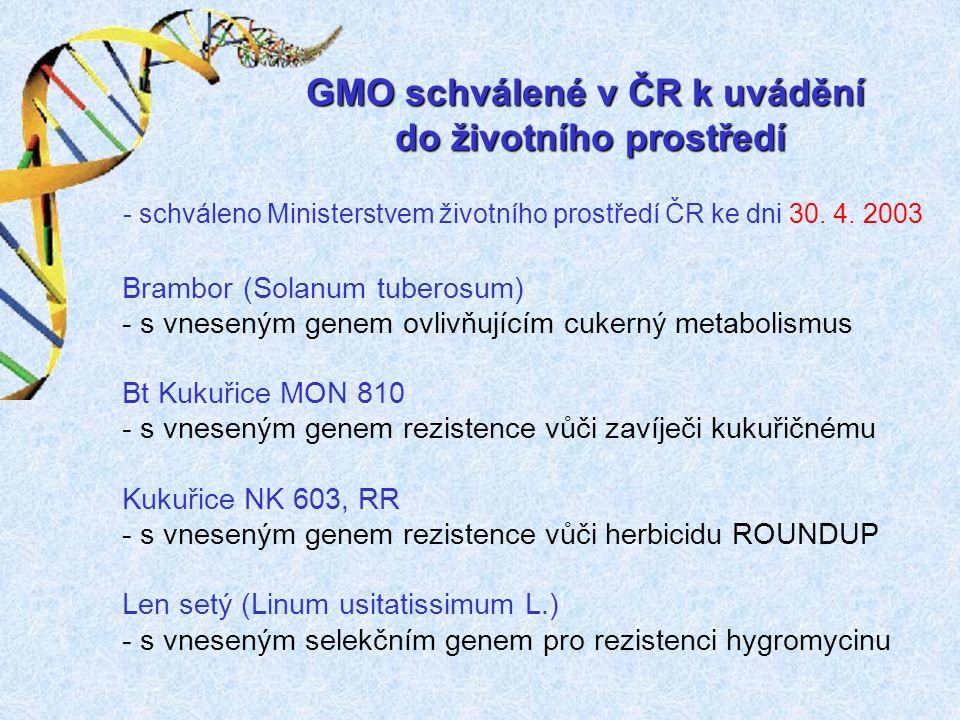 Řepka olejná ozimá MS8 - tolerantní k herbicidu s geny pro samčí sterilitu Řepka olejná ozimá MS8RF3 - tolerantní k herbicidu s geny pro samčí sterilitu a obnovení plodnosti Slivoň Stanley - s vneseným genem pro obalový protein viru šarky švestky GMO schválené v ČR k uvádění do životního prostředí