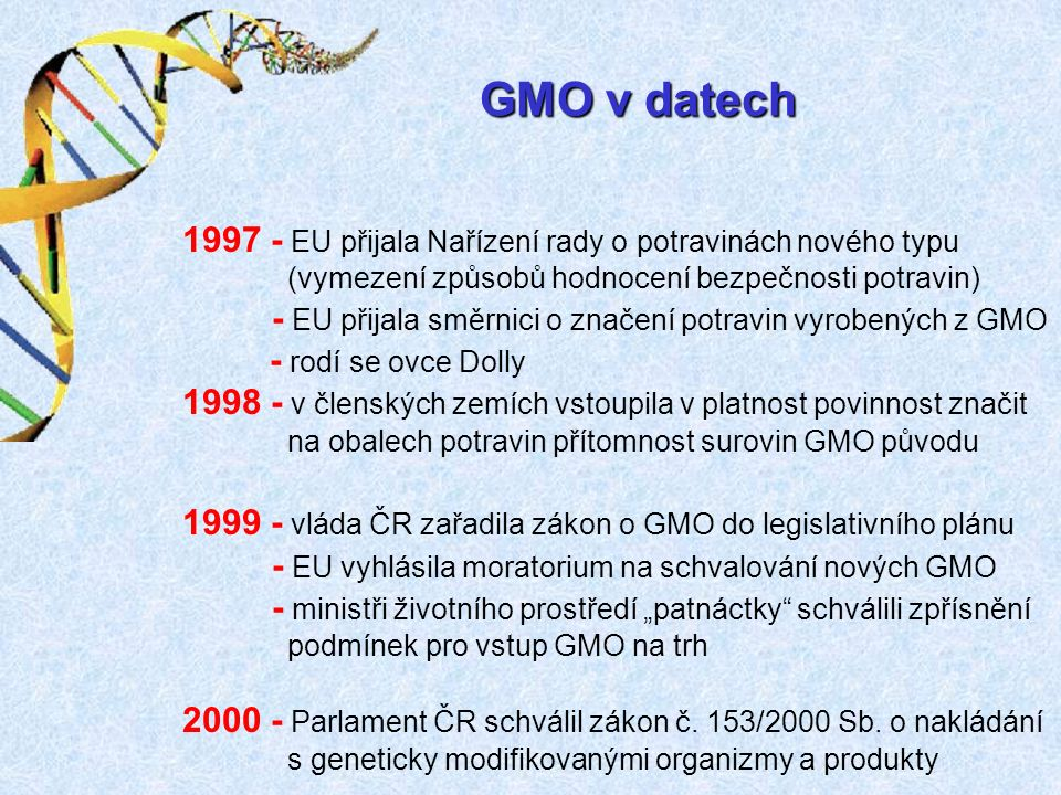 """GMO v datech 1997 - EU přijala Nařízení rady o potravinách nového typu (vymezení způsobů hodnocení bezpečnosti potravin) - EU přijala směrnici o značení potravin vyrobených z GMO - rodí se ovce Dolly 1998 - v členských zemích vstoupila v platnost povinnost značit na obalech potravin přítomnost surovin GMO původu 1999 - vláda ČR zařadila zákon o GMO do legislativního plánu - EU vyhlásila moratorium na schvalování nových GMO - ministři životního prostředí """"patnáctky schválili zpřísnění podmínek pro vstup GMO na trh 2000 - Parlament ČR schválil zákon č."""