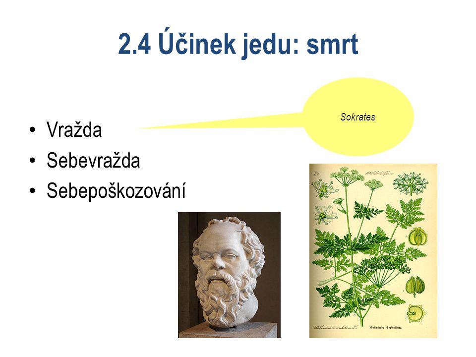 2.4 Účinek jedu: smrt Vražda Sebevražda Sebepoškozování Sokrates