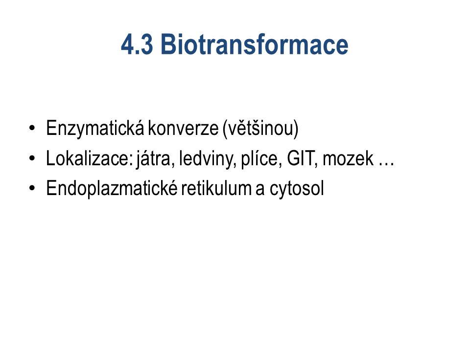 4.3 Biotransformace Enzymatická konverze (většinou) Lokalizace: játra, ledviny, plíce, GIT, mozek … Endoplazmatické retikulum a cytosol