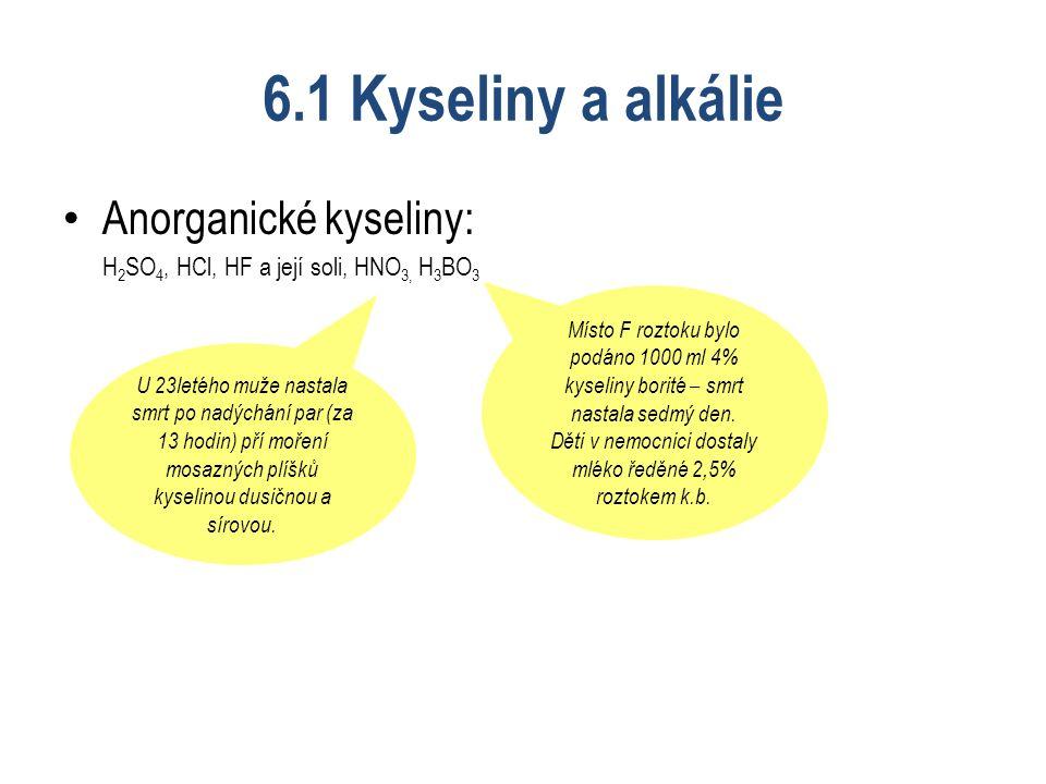 6.1 Kyseliny a alkálie Anorganické kyseliny: H 2 SO 4, HCl, HF a její soli, HNO 3, H 3 BO 3 Místo F roztoku bylo podáno 1000 ml 4% kyseliny borité – smrt nastala sedmý den.