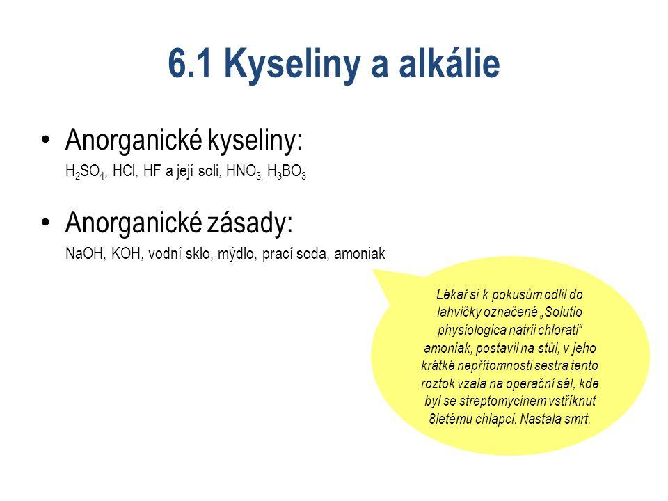 """6.1 Kyseliny a alkálie Anorganické kyseliny: H 2 SO 4, HCl, HF a její soli, HNO 3, H 3 BO 3 Anorganické zásady: NaOH, KOH, vodní sklo, mýdlo, prací soda, amoniak Lékař si k pokusům odlil do lahvičky označené """"Solutio physiologica natrii chlorati amoniak, postavil na stůl, v jeho krátké nepřítomnosti sestra tento roztok vzala na operační sál, kde byl se streptomycinem vstříknut 8letému chlapci."""