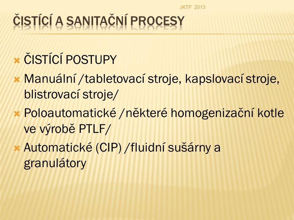  ČISTÍCÍ POSTUPY  Manuální /tabletovací stroje, kapslovací stroje, blistrovací stroje/  Poloautomatické /některé homogenizační kotle ve výrobě PTLF/  Automatické (CIP) /fluidní sušárny a granulátory JKTP 2013