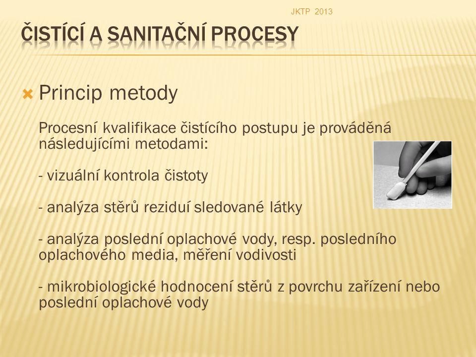  Princip metody Procesní kvalifikace čistícího postupu je prováděná následujícími metodami: - vizuální kontrola čistoty - analýza stěrů reziduí sledované látky - analýza poslední oplachové vody, resp.