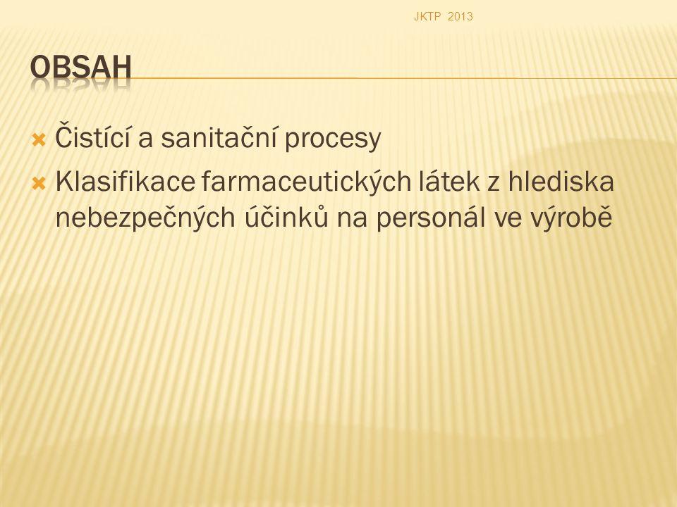  Čistící a sanitační procesy  Klasifikace farmaceutických látek z hlediska nebezpečných účinků na personál ve výrobě JKTP 2013