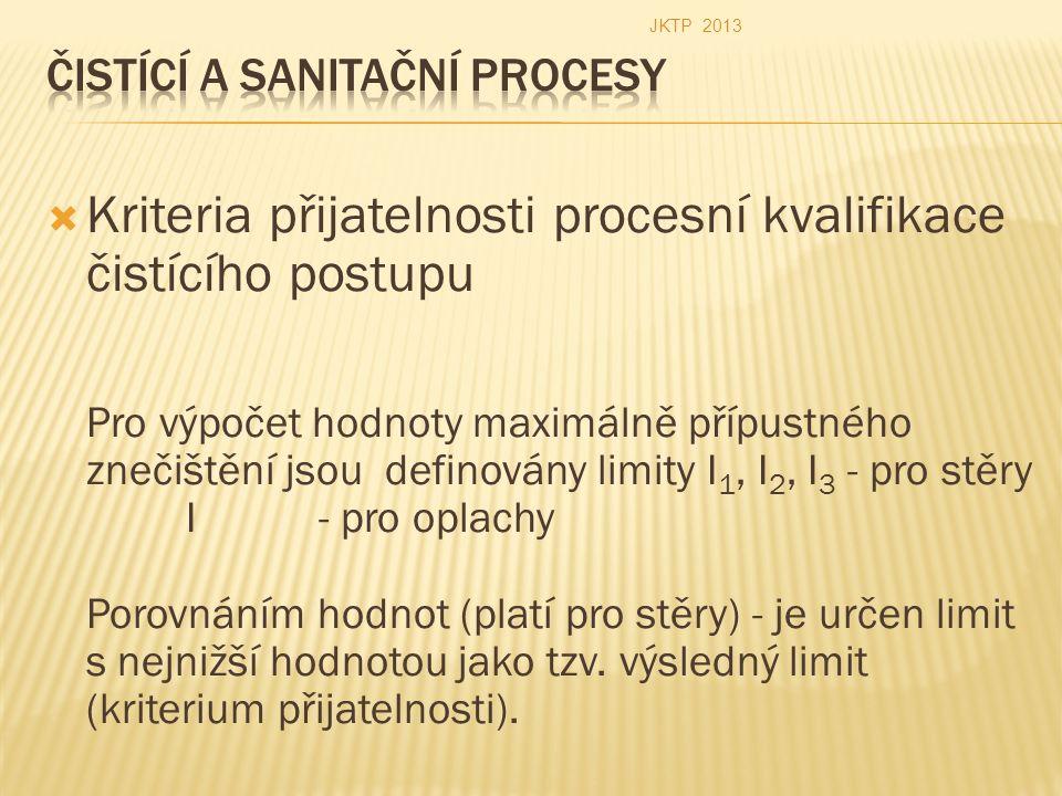  Kriteria přijatelnosti procesní kvalifikace čistícího postupu Pro výpočet hodnoty maximálně přípustného znečištění jsou definovány limity I 1, I 2, I 3 - pro stěry I - pro oplachy Porovnáním hodnot (platí pro stěry) - je určen limit s nejnižší hodnotou jako tzv.