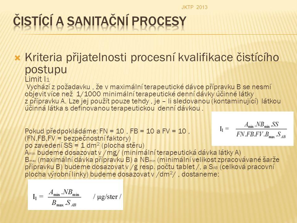  Kriteria přijatelnosti procesní kvalifikace čistícího postupu Limit I 1 Vychází z požadavku, že v maximální terapeutické dávce přípravku B se nesmí objevit více než 1/1000 minimální terapeutické denní dávky účinné látky z přípravku A.