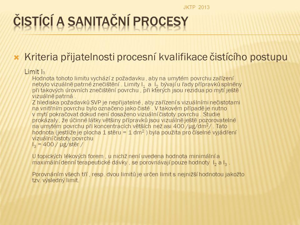  Kriteria přijatelnosti procesní kvalifikace čistícího postupu Limit I 3 Hodnota tohoto limitu vychází z požadavku, aby na umytém povrchu zařízení nebylo vizuálně patrné znečištění.