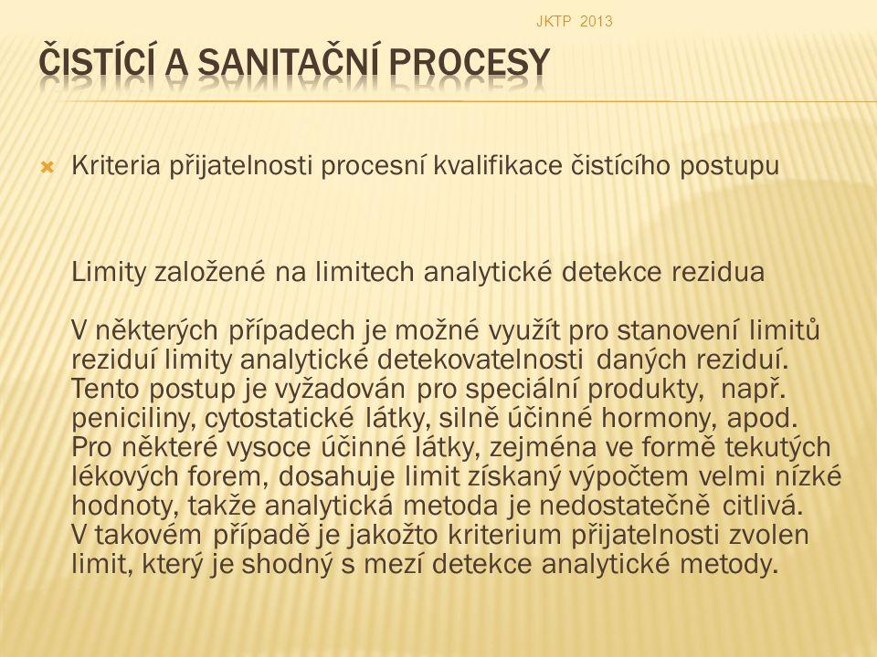  Kriteria přijatelnosti procesní kvalifikace čistícího postupu Limity založené na limitech analytické detekce rezidua V některých případech je možné využít pro stanovení limitů reziduí limity analytické detekovatelnosti daných reziduí.