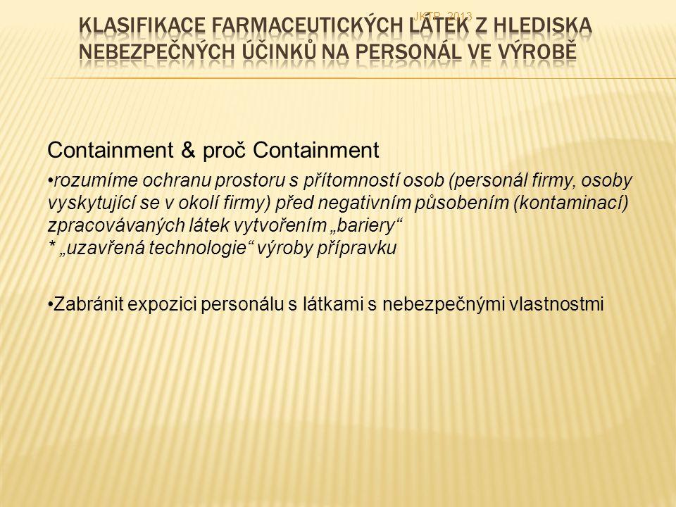 """Containment & proč Containment rozumíme ochranu prostoru s přítomností osob (personál firmy, osoby vyskytující se v okolí firmy) před negativním působením (kontaminací) zpracovávaných látek vytvořením """"bariery * """"uzavřená technologie výroby přípravku Zabránit expozici personálu s látkami s nebezpečnými vlastnostmi JKTP 2013"""