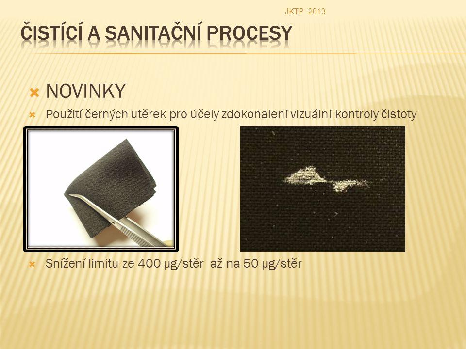  NOVINKY  Použití černých utěrek pro účely zdokonalení vizuální kontroly čistoty  Snížení limitu ze 400 µg/stěr až na 50 µg/stěr JKTP 2013