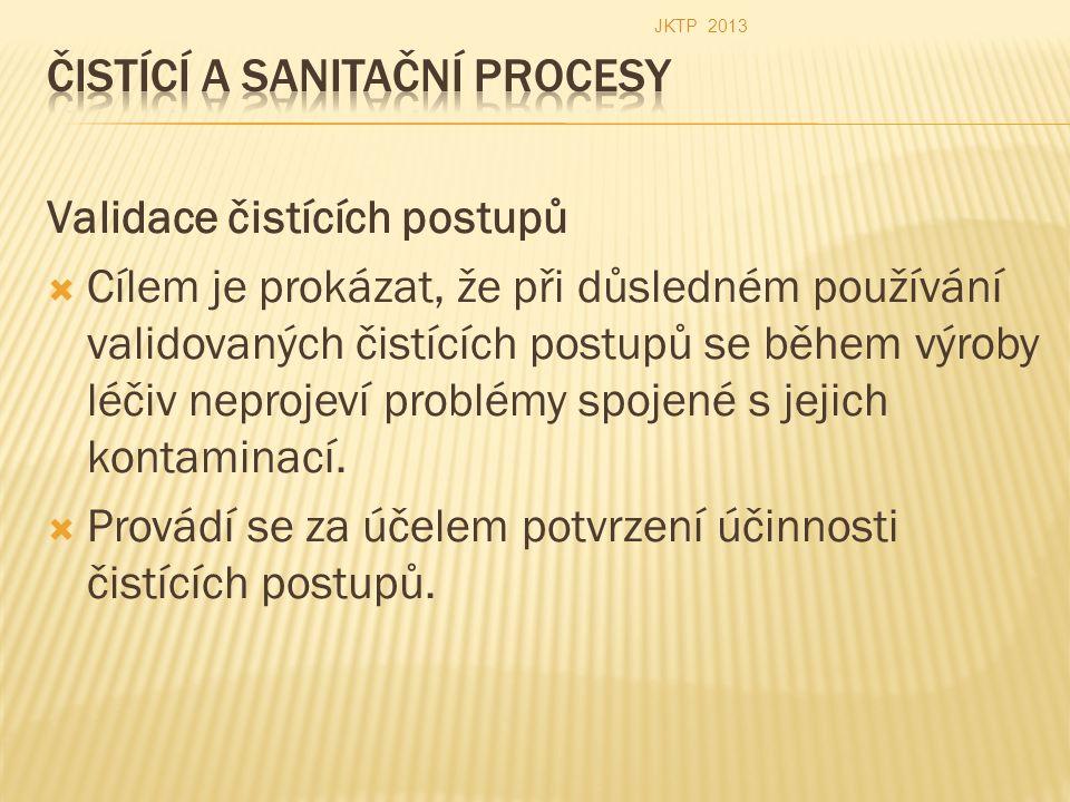 Validace čistících postupů  Cílem je prokázat, že při důsledném používání validovaných čistících postupů se během výroby léčiv neprojeví problémy spojené s jejich kontaminací.
