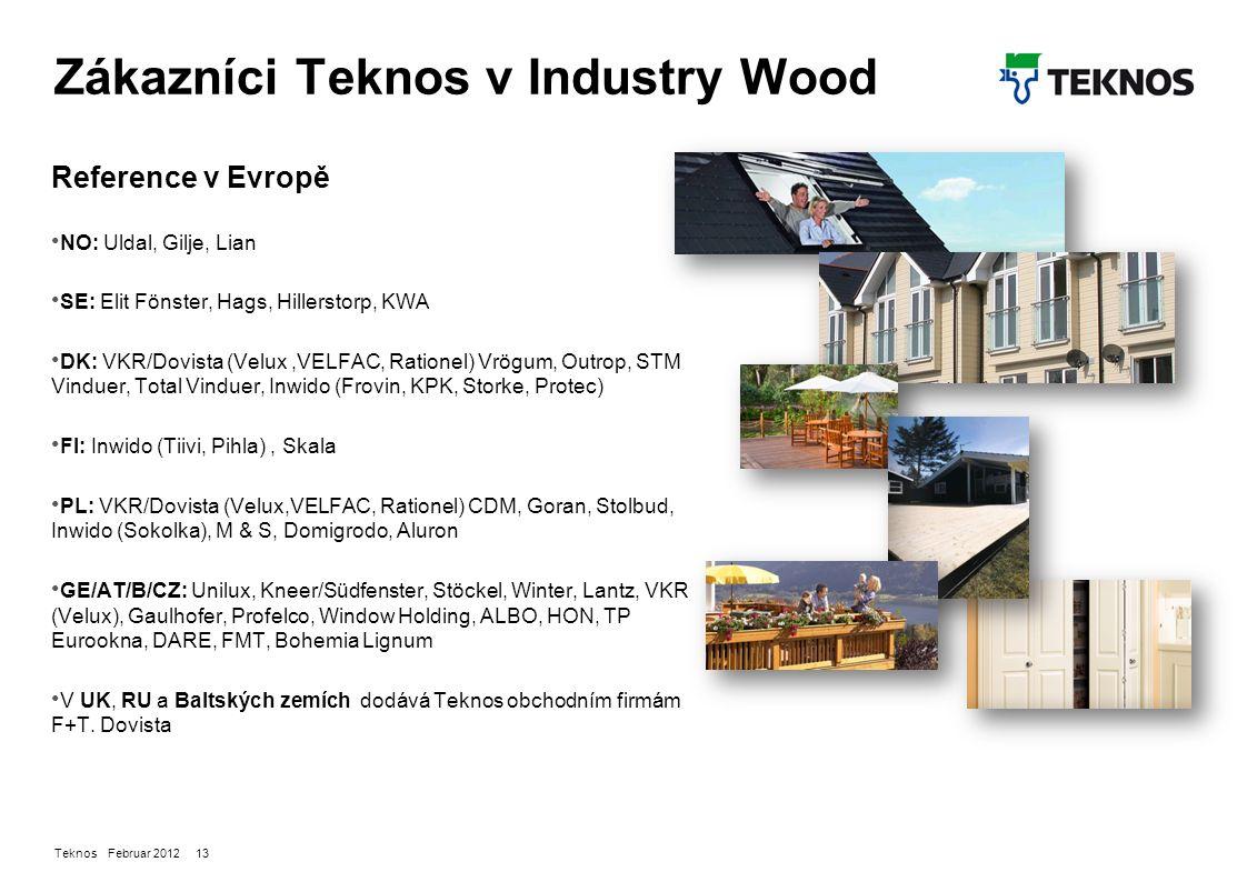 Teknos Februar 2012 13 Zákazníci Teknos v Industry Wood Reference v Evropě NO: Uldal, Gilje, Lian SE: Elit Fönster, Hags, Hillerstorp, KWA DK: VKR/Dovista (Velux,VELFAC, Rationel) Vrögum, Outrop, STM Vinduer, Total Vinduer, Inwido (Frovin, KPK, Storke, Protec) FI: Inwido (Tiivi, Pihla), Skala PL: VKR/Dovista (Velux,VELFAC, Rationel) CDM, Goran, Stolbud, Inwido (Sokolka), M & S, Domigrodo, Aluron GE/AT/B/CZ: Unilux, Kneer/Südfenster, Stöckel, Winter, Lantz, VKR (Velux), Gaulhofer, Profelco, Window Holding, ALBO, HON, TP Eurookna, DARE, FMT, Bohemia Lignum V UK, RU a Baltských zemích dodává Teknos obchodním firmám F+T.