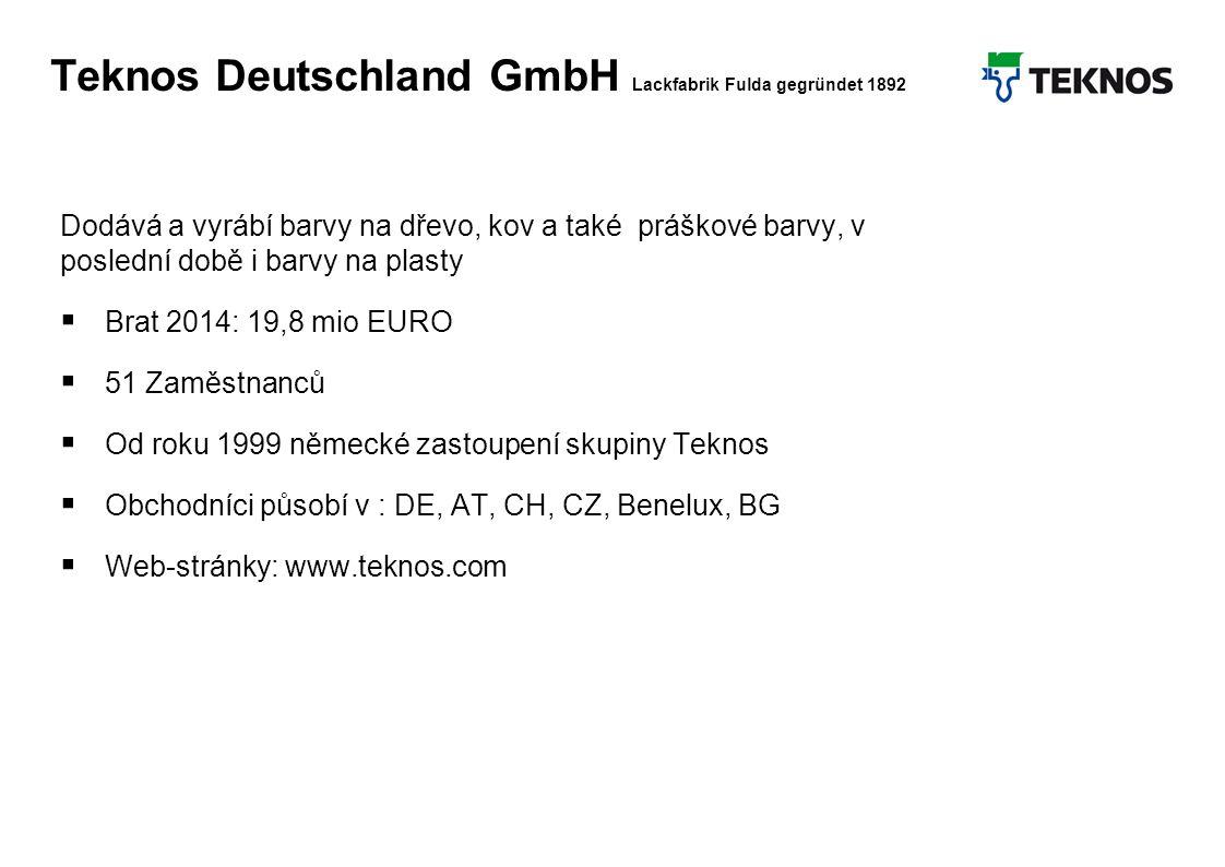 Teknos Februar 2012 15 Teknos Deutschland GmbH Lackfabrik Fulda gegründet 1892 Dodává a vyrábí barvy na dřevo, kov a také práškové barvy, v poslední době i barvy na plasty  Brat 2014: 19,8 mio EURO  51 Zaměstnanců  Od roku 1999 německé zastoupení skupiny Teknos  Obchodníci působí v : DE, AT, CH, CZ, Benelux, BG  Web-stránky: www.teknos.com