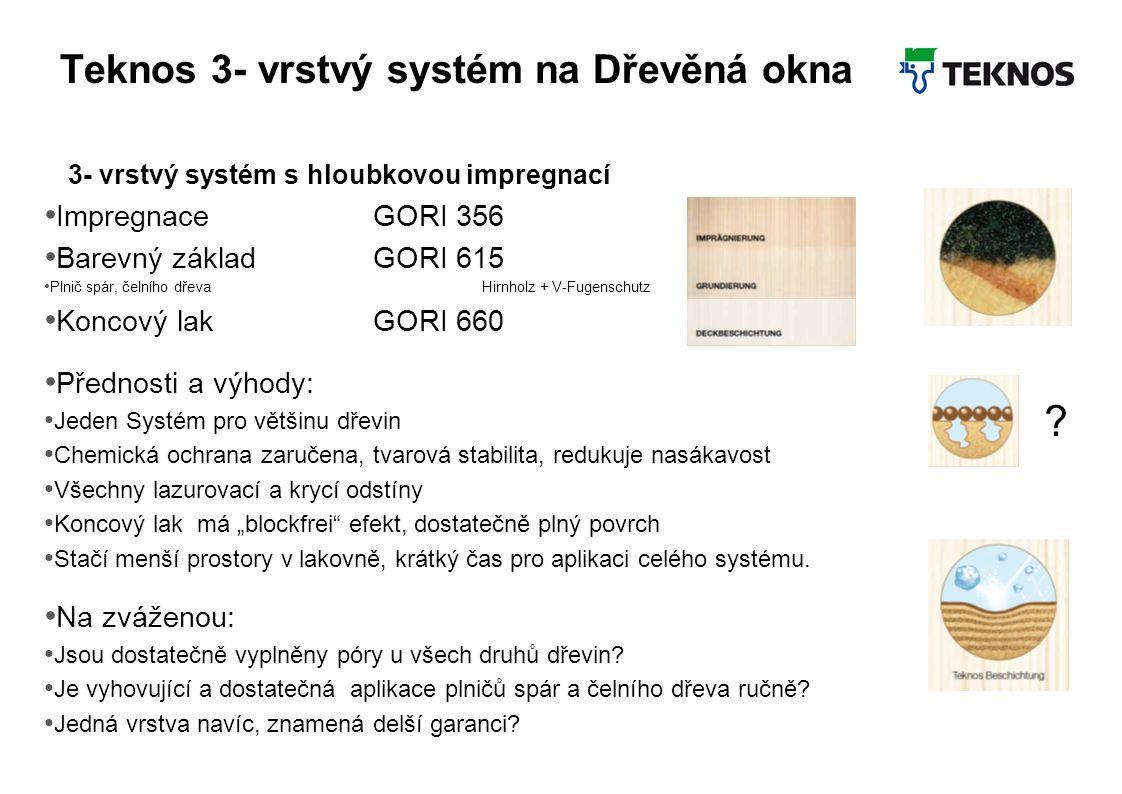 Teknos 3- vrstvý systém na Dřevěná okna 3- vrstvý systém s hloubkovou impregnací Impregnace GORI 356 Barevný základGORI 615 Plnič spár, čelního dřevaH