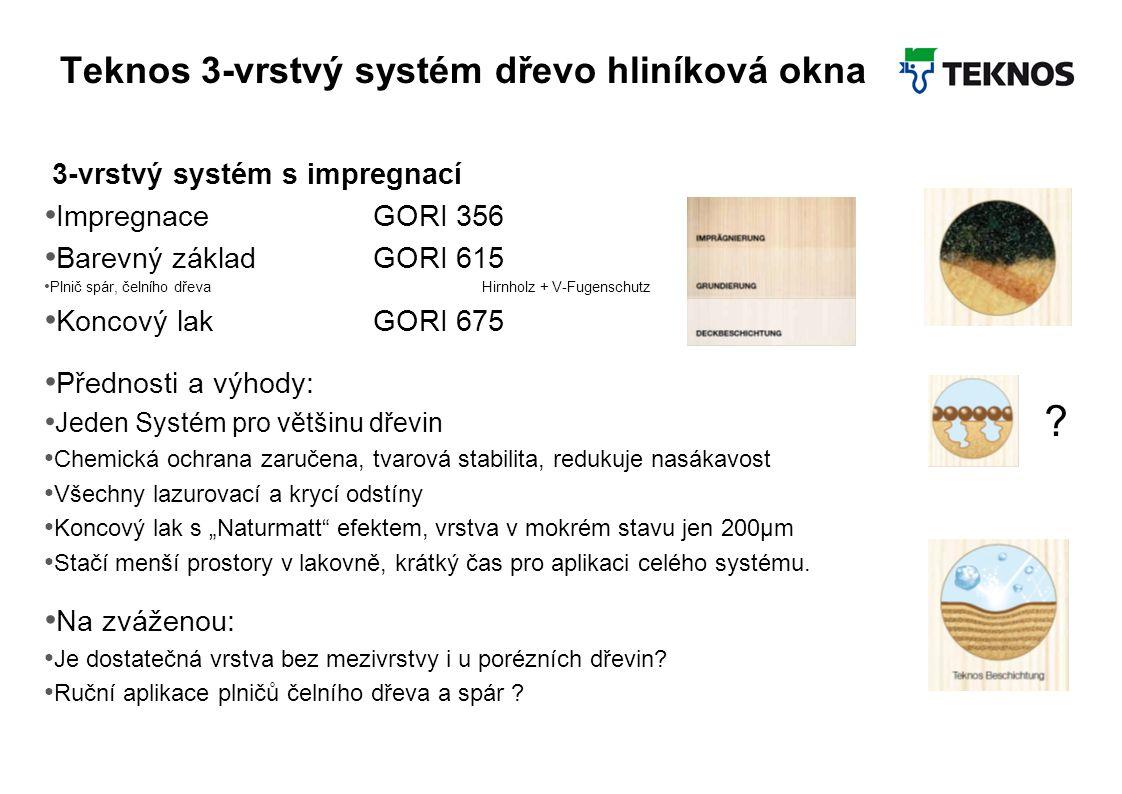 Teknos 3-vrstvý systém dřevo hliníková okna 3-vrstvý systém s impregnací Impregnace GORI 356 Barevný základGORI 615 Plnič spár, čelního dřevaHirnholz