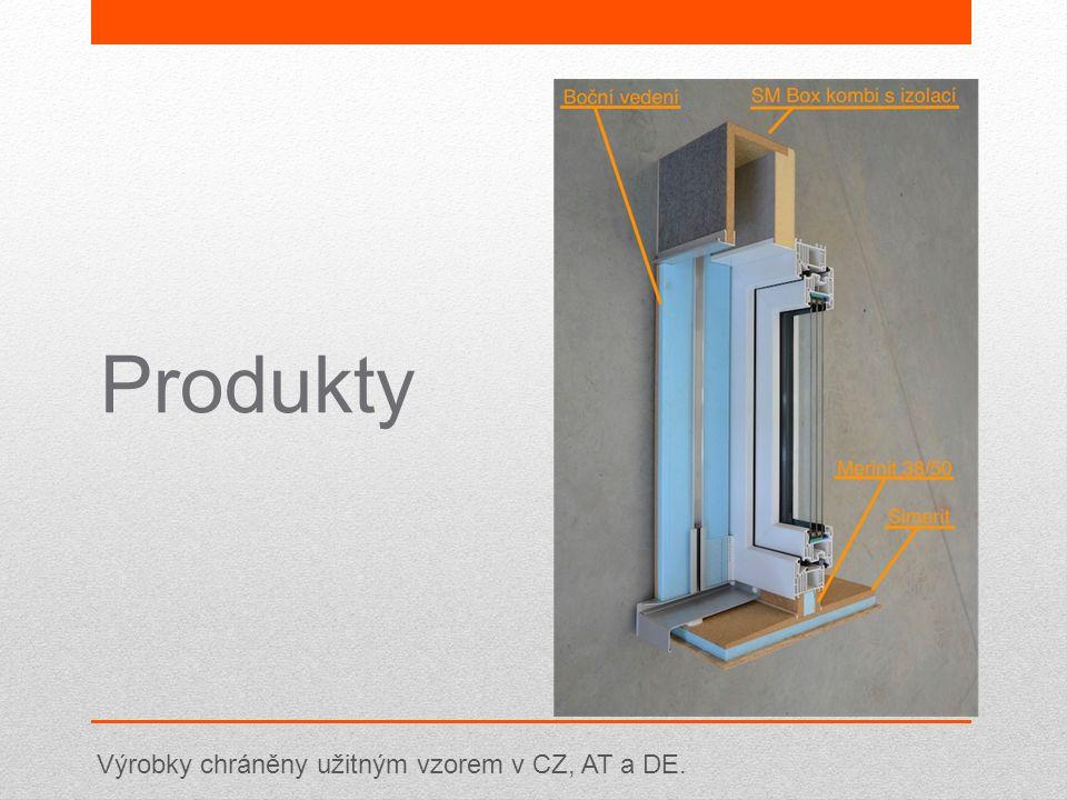 Produkty Výrobky chráněny užitným vzorem v CZ, AT a DE.