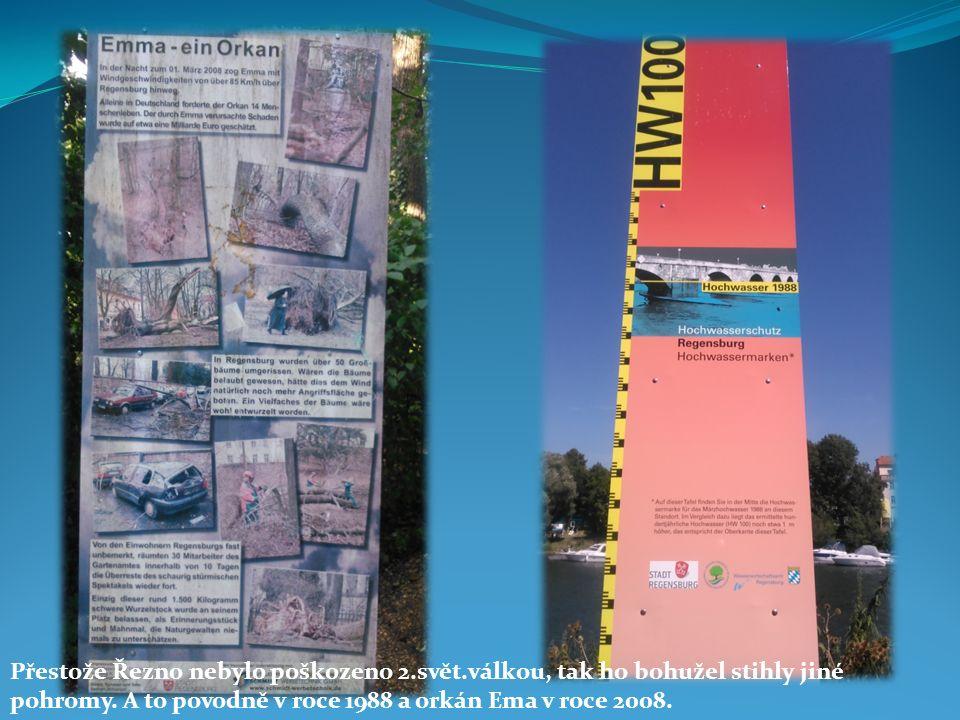 Přestože Řezno nebylo poškozeno 2.svět.válkou, tak ho bohužel stihly jiné pohromy. A to povodně v roce 1988 a orkán Ema v roce 2008.