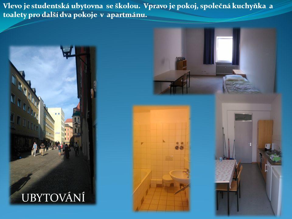 UBYTOVÁNÍ Vlevo je studentská ubytovna se školou. Vpravo je pokoj, společná kuchyňka a toalety pro další dva pokoje v apartmánu.