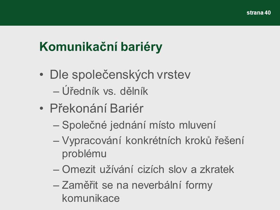 Komunikační bariéry Dle společenských vrstev –Úředník vs.