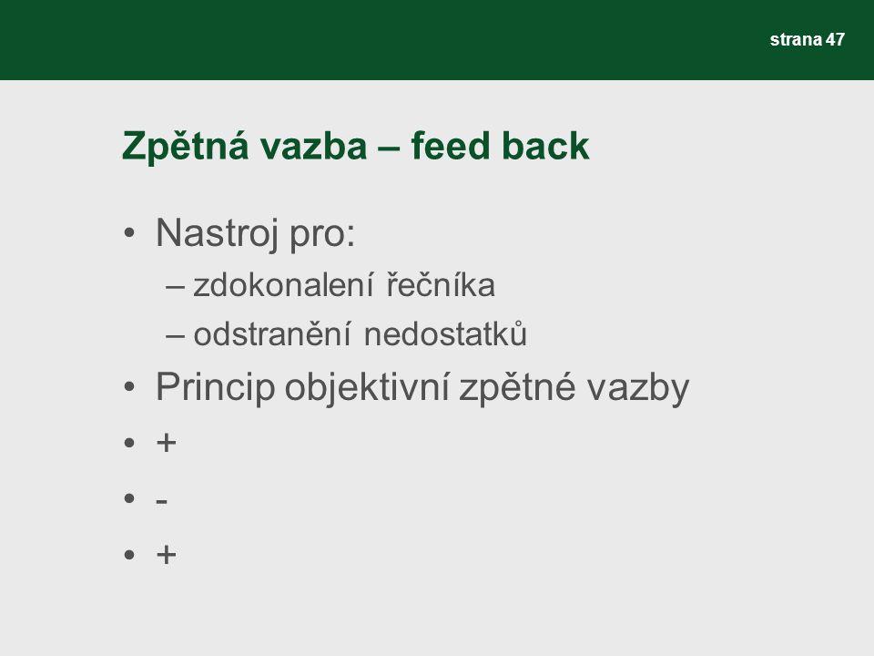 Zpětná vazba – feed back Nastroj pro: –zdokonalení řečníka –odstranění nedostatků Princip objektivní zpětné vazby + - + strana 47