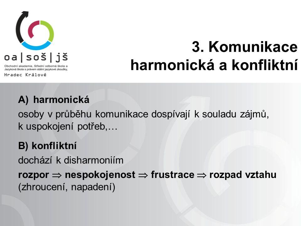 3. Komunikace harmonická a konfliktní A)harmonická osoby v průběhu komunikace dospívají k souladu zájmů, k uspokojení potřeb,… B) konfliktní dochází k