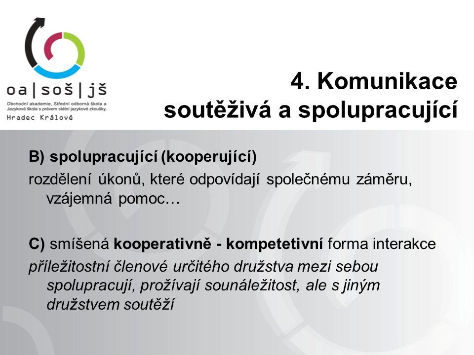 B) spolupracující (kooperující) rozdělení úkonů, které odpovídají společnému záměru, vzájemná pomoc… C) smíšená kooperativně - kompetetivní forma inte