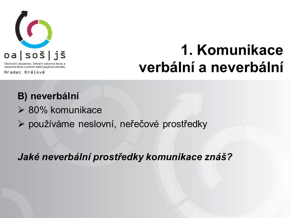 B) neverbální  80% komunikace  používáme neslovní, neřečové prostředky Jaké neverbální prostředky komunikace znáš.