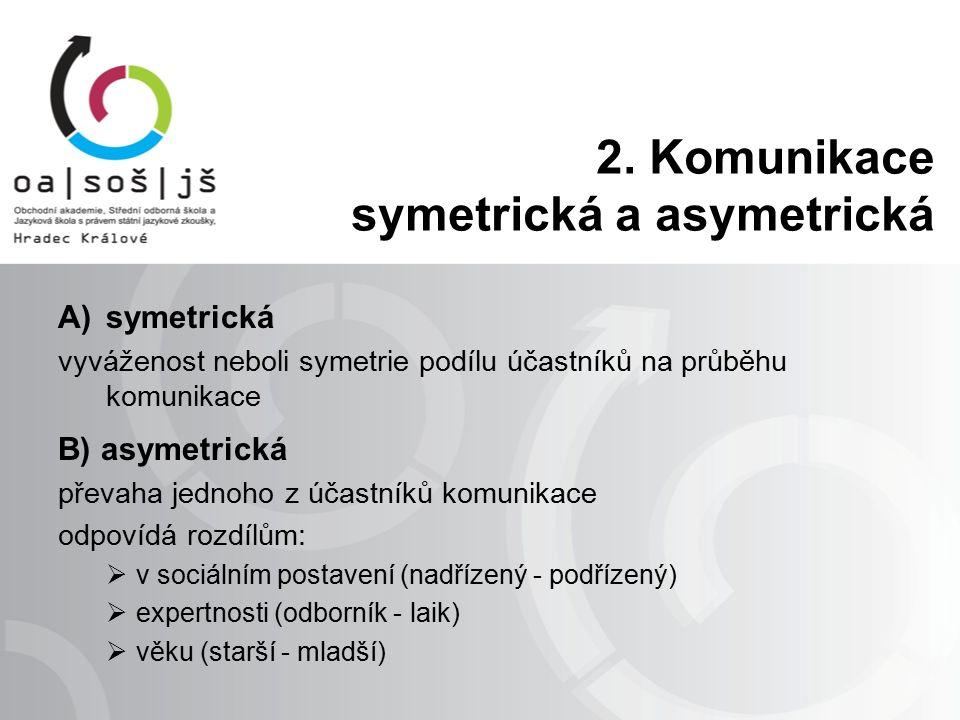 2. Komunikace symetrická a asymetrická A)symetrická vyváženost neboli symetrie podílu účastníků na průběhu komunikace B) asymetrická převaha jednoho z