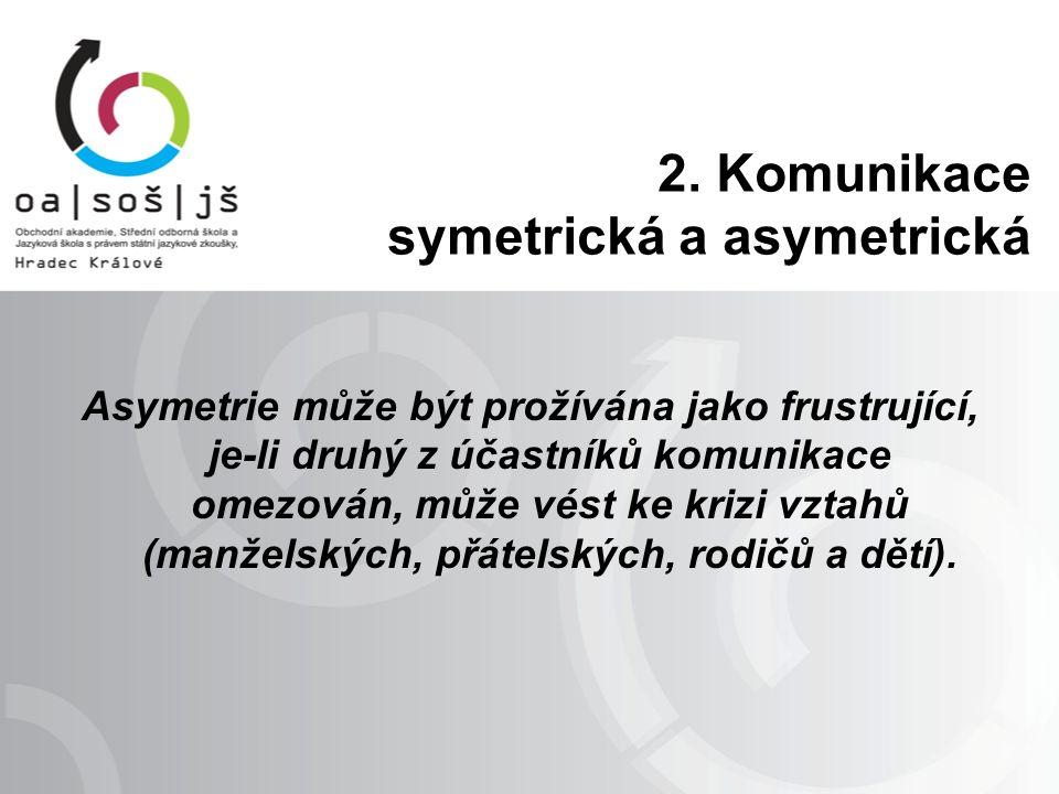 Asymetrie může být prožívána jako frustrující, je-li druhý z účastníků komunikace omezován, může vést ke krizi vztahů (manželských, přátelských, rodič