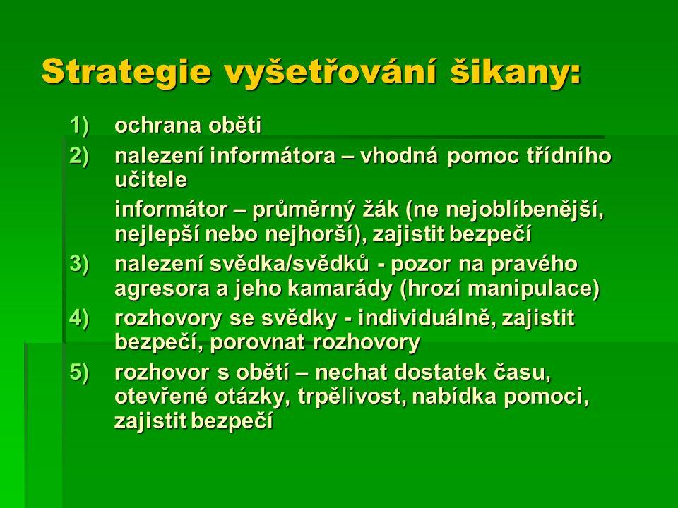 Strategie vyšetřování šikany: 1)ochrana oběti 2)nalezení informátora – vhodná pomoc třídního učitele informátor – průměrný žák (ne nejoblíbenější, nejlepší nebo nejhorší), zajistit bezpečí 3)nalezení svědka/svědků - pozor na pravého agresora a jeho kamarády (hrozí manipulace) 4)rozhovory se svědky - individuálně, zajistit bezpečí, porovnat rozhovory 5)rozhovor s obětí – nechat dostatek času, otevřené otázky, trpělivost, nabídka pomoci, zajistit bezpečí