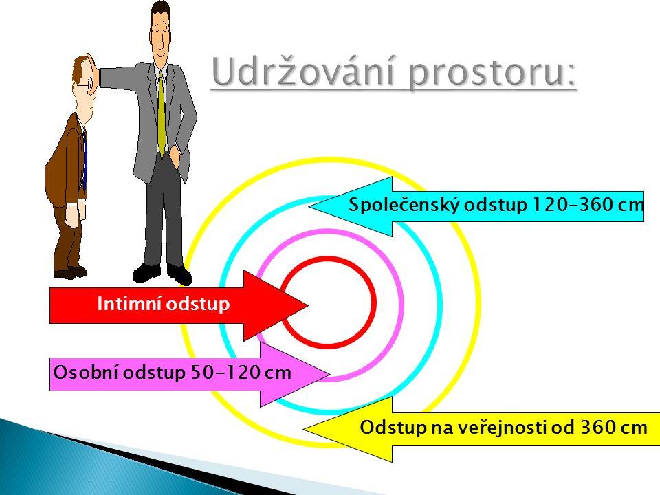 PROXEMIKA- prostorové umístění Označuje vzdálenost při komunikaci.  Intimní zóna  Osobní zóna  Sociální zóna  Veřejná zóna  kulturně podmíněno