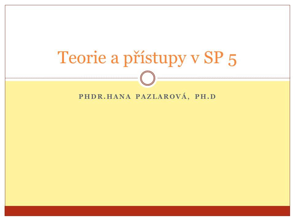 PHDR.HANA PAZLAROVÁ, PH.D Teorie a přístupy v SP 5