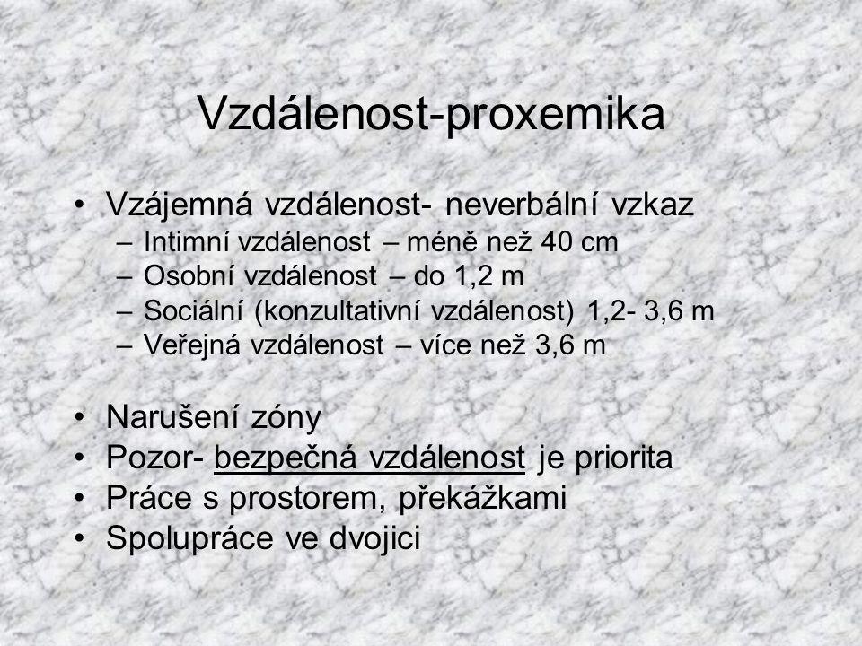 Vzdálenost-proxemika Vzájemná vzdálenost- neverbální vzkaz –Intimní vzdálenost – méně než 40 cm –Osobní vzdálenost – do 1,2 m –Sociální (konzultativní