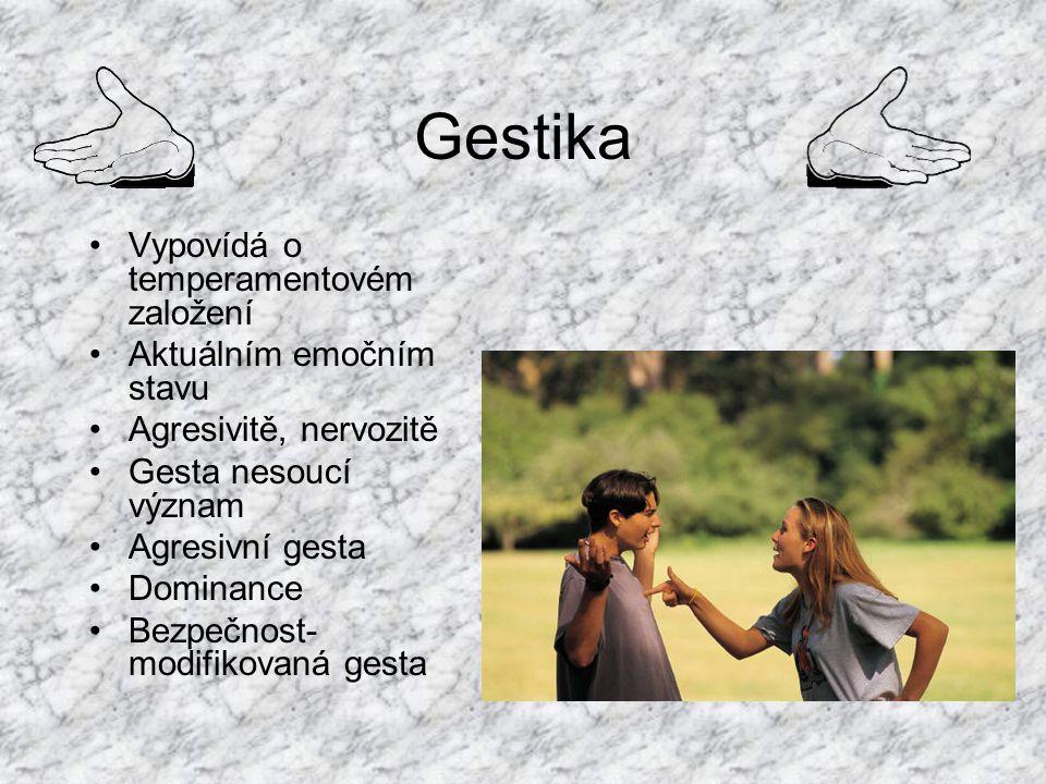 Gestika Vypovídá o temperamentovém založení Aktuálním emočním stavu Agresivitě, nervozitě Gesta nesoucí význam Agresivní gesta Dominance Bezpečnost- modifikovaná gesta