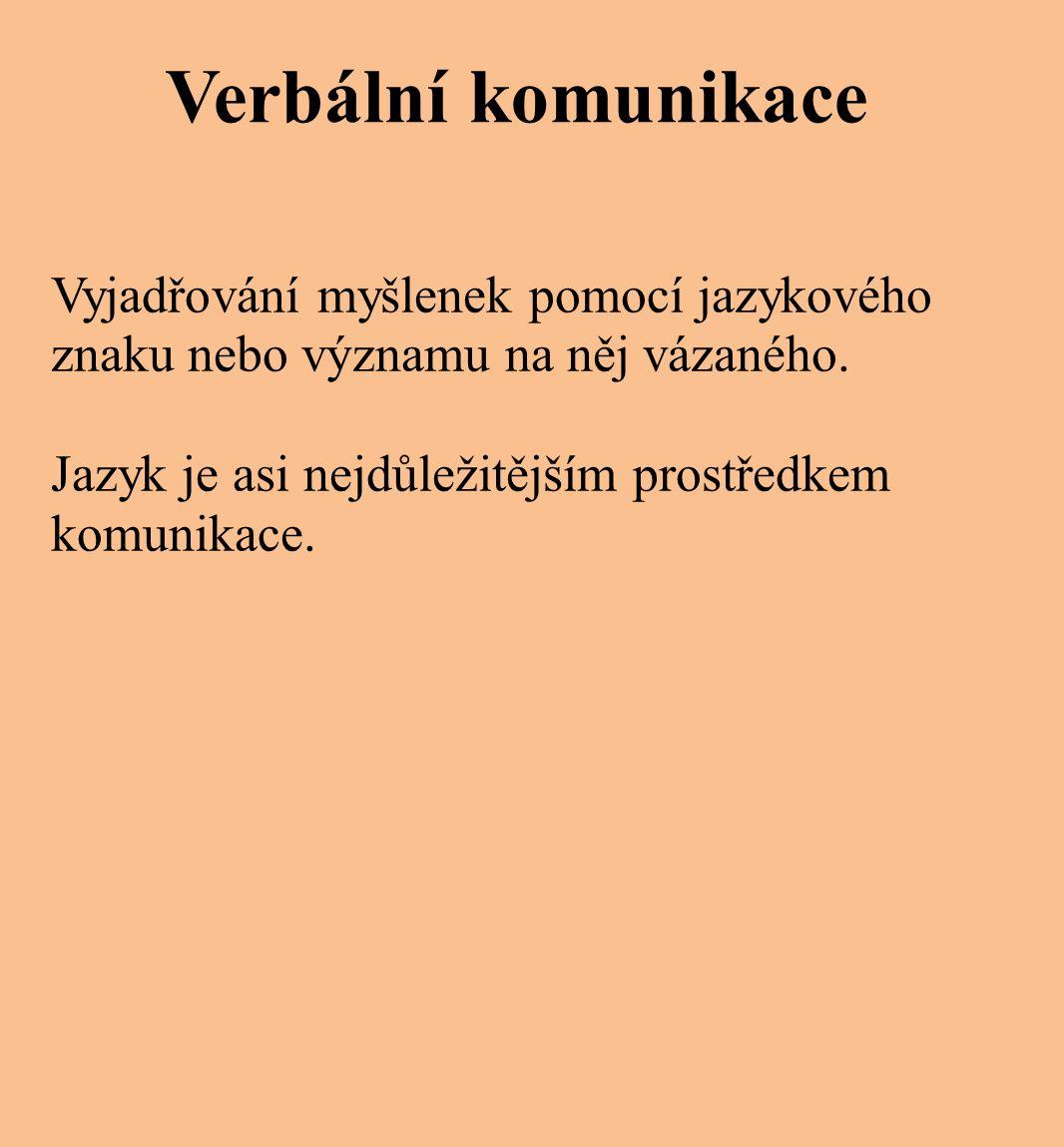 Verbální komunikace Vyjadřování myšlenek pomocí jazykového znaku nebo významu na něj vázaného.