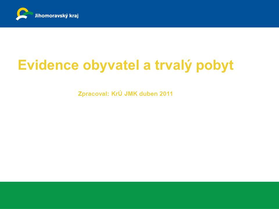 Evidence obyvatel a trvalý pobyt Zpracoval: KrÚ JMK duben 2011