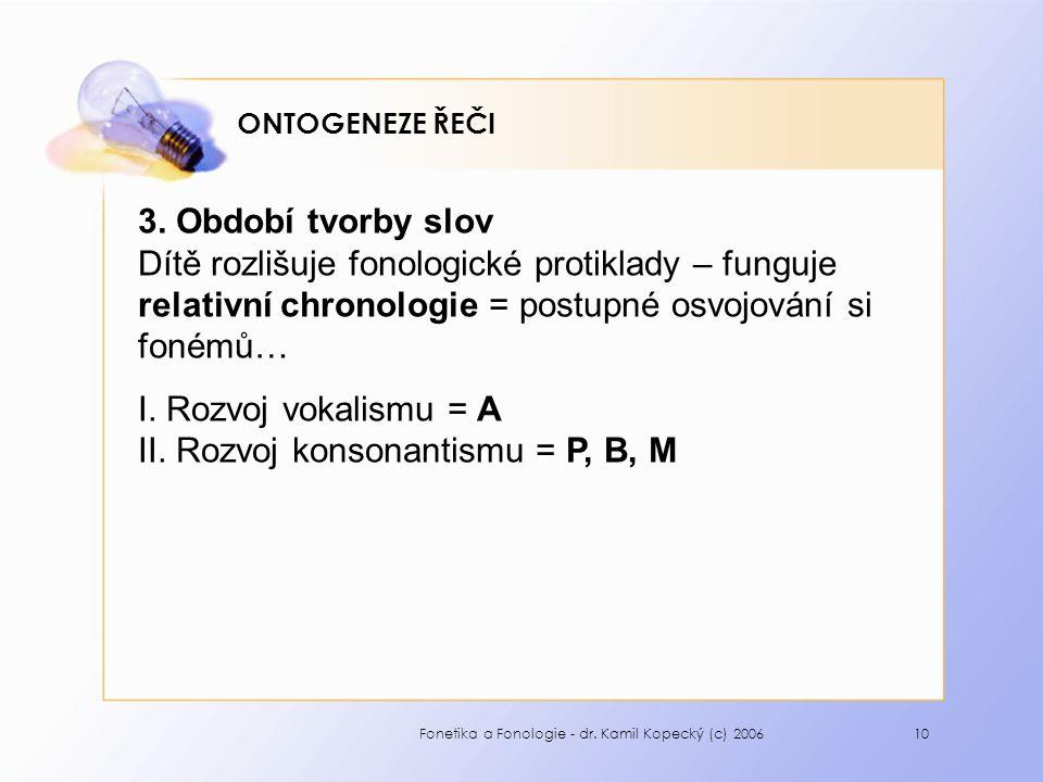 Fonetika a Fonologie - dr. Kamil Kopecký (c) 200610 ONTOGENEZE ŘEČI 3.