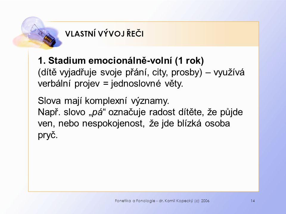 Fonetika a Fonologie - dr. Kamil Kopecký (c) 200614 VLASTNÍ VÝVOJ ŘEČI 1.