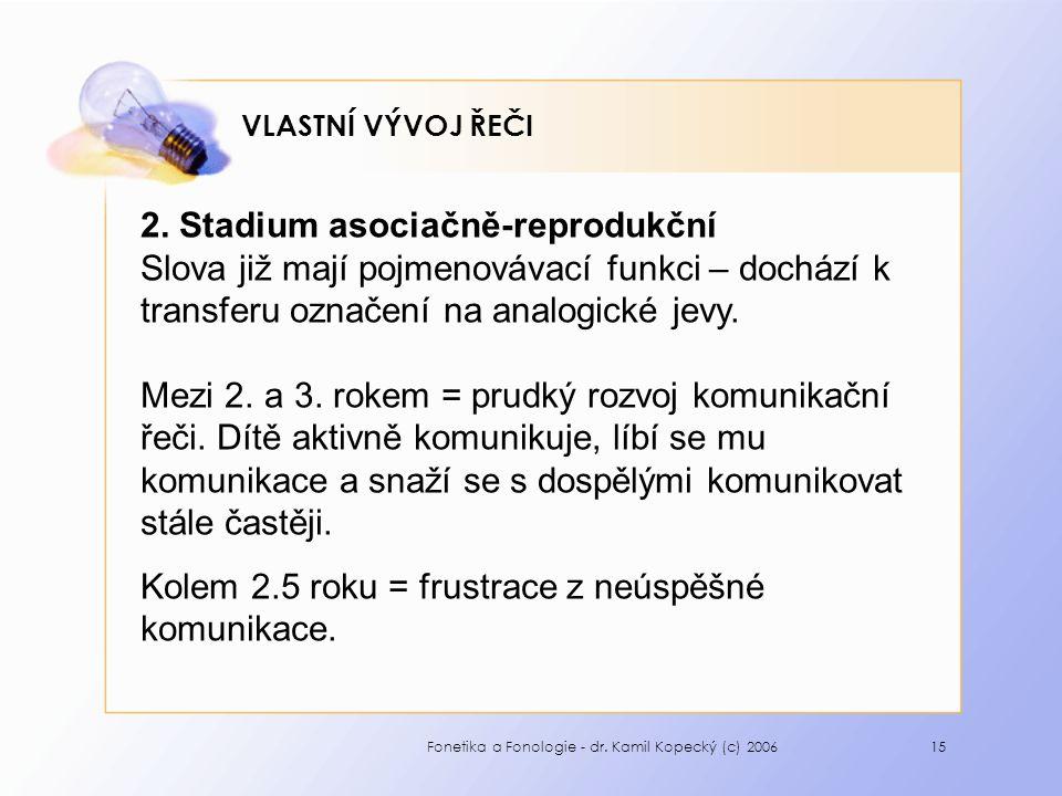 Fonetika a Fonologie - dr. Kamil Kopecký (c) 200615 VLASTNÍ VÝVOJ ŘEČI 2.