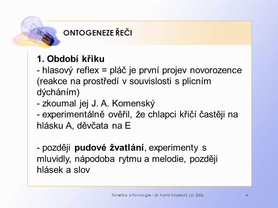 Fonetika a Fonologie - dr. Kamil Kopecký (c) 20064 ONTOGENEZE ŘEČI 1.
