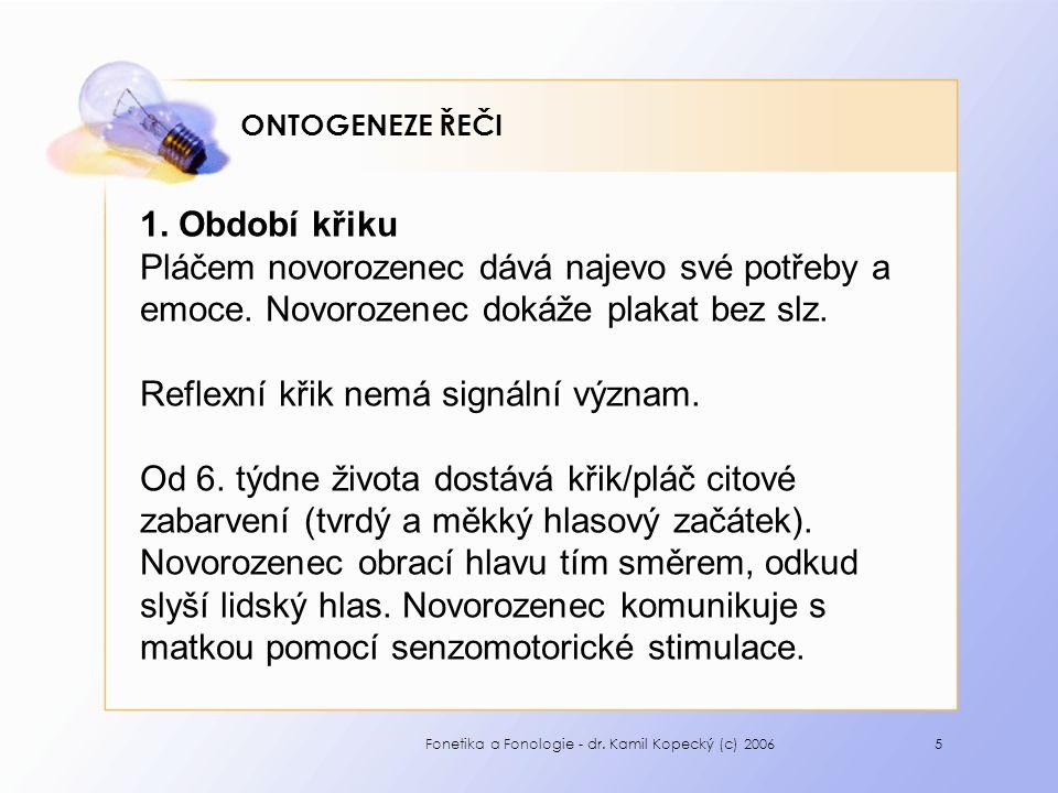 Fonetika a Fonologie - dr. Kamil Kopecký (c) 20065 ONTOGENEZE ŘEČI 1.