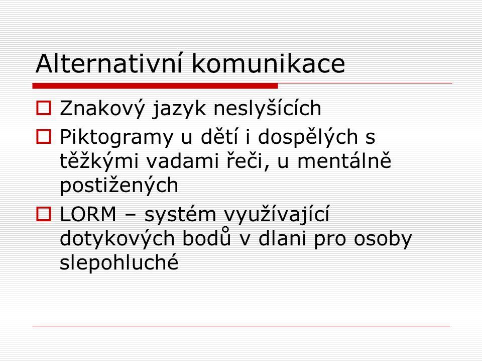Alternativní komunikace  Znakový jazyk neslyšících  Piktogramy u dětí i dospělých s těžkými vadami řeči, u mentálně postižených  LORM – systém využ