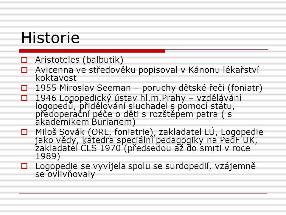 Historie  Aristoteles (balbutik)  Avicenna ve středověku popisoval v Kánonu lékařství koktavost  1955 Miroslav Seeman – poruchy dětské řeči (foniat