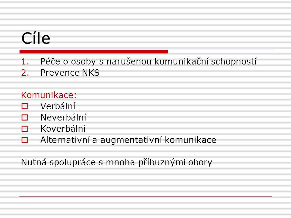 Cíle 1.Péče o osoby s narušenou komunikační schopností 2.Prevence NKS Komunikace:  Verbální  Neverbální  Koverbální  Alternativní a augmentativní