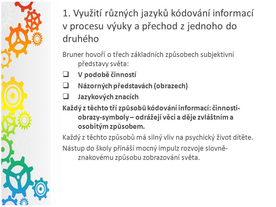 1. Využití různých jazyků kódování informací v procesu výuky a přechod z jednoho do druhého Bruner hovoří o třech základních způsobech subjektivní pře