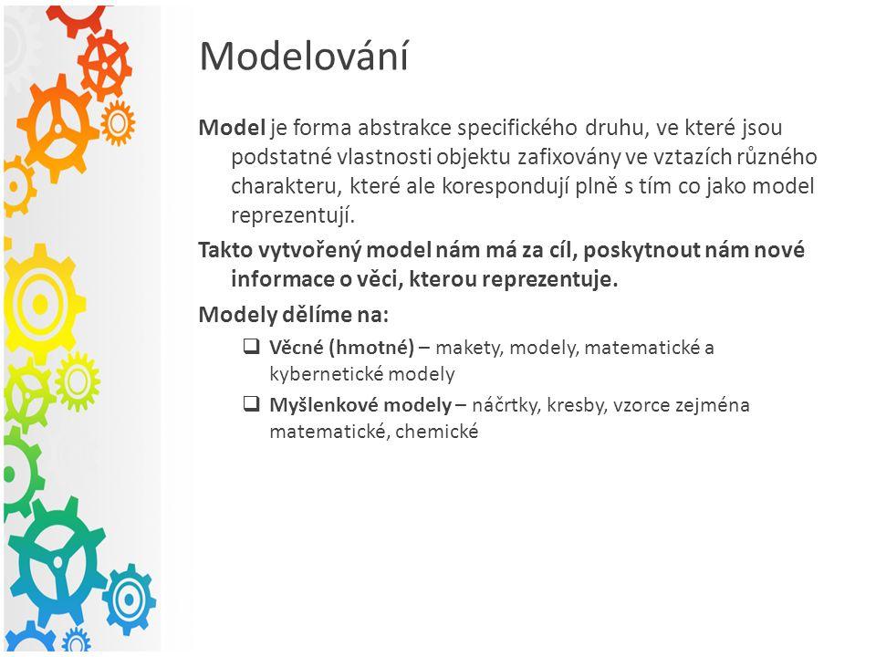 Modelování Model je forma abstrakce specifického druhu, ve které jsou podstatné vlastnosti objektu zafixovány ve vztazích různého charakteru, které ale korespondují plně s tím co jako model reprezentují.