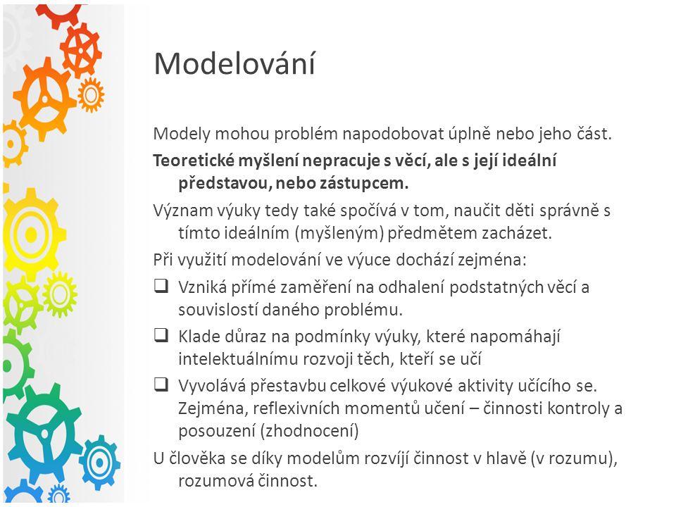 Modelování Modely mohou problém napodobovat úplně nebo jeho část.