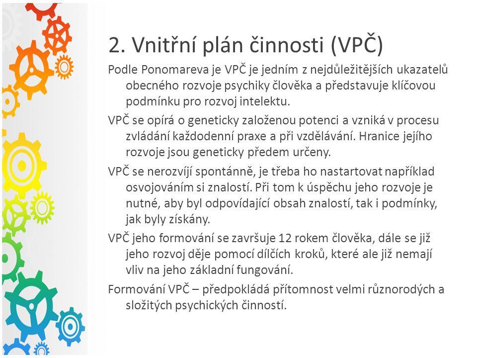 2. Vnitřní plán činnosti (VPČ) Podle Ponomareva je VPČ je jedním z nejdůležitějších ukazatelů obecného rozvoje psychiky člověka a představuje klíčovou